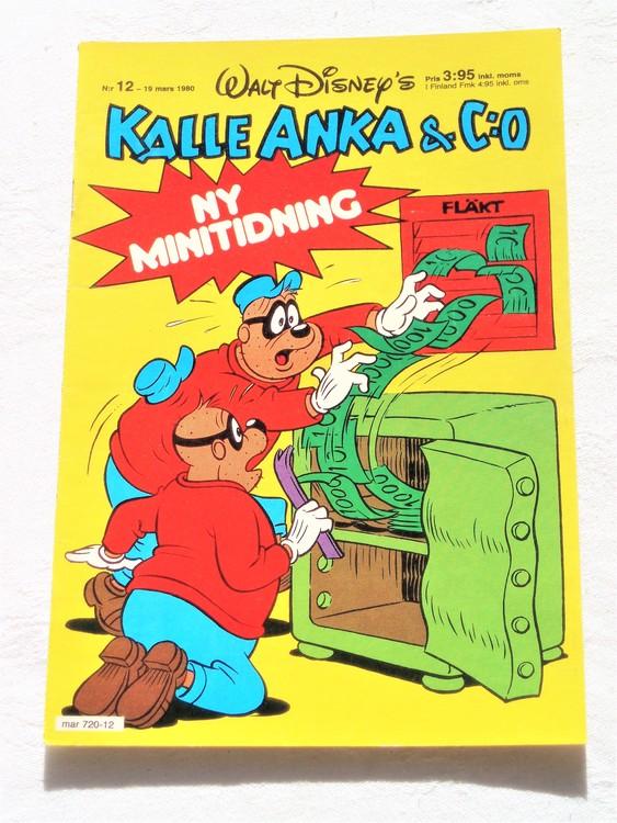 Kalle Anka&Co nr12,1980 mycket bra skick,ryggen sliten,lite småskador finns.