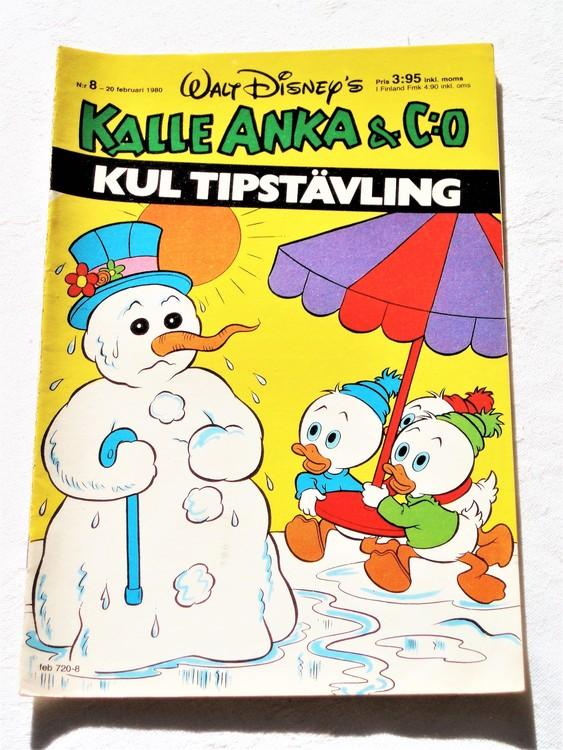 Kalle Anka&Co nr8,1980 mycket bra skick,ryggen sliten,lite småskador finns.