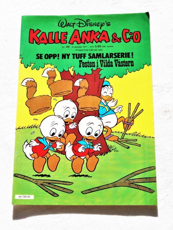 Kalle Anka&Co nr40 1977 mycket bra skick,adressetikett baksida.