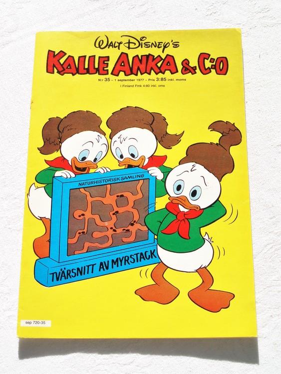 Kalle Anka&Co nr35 1977 mycket bra skick,adressetikett baksida.