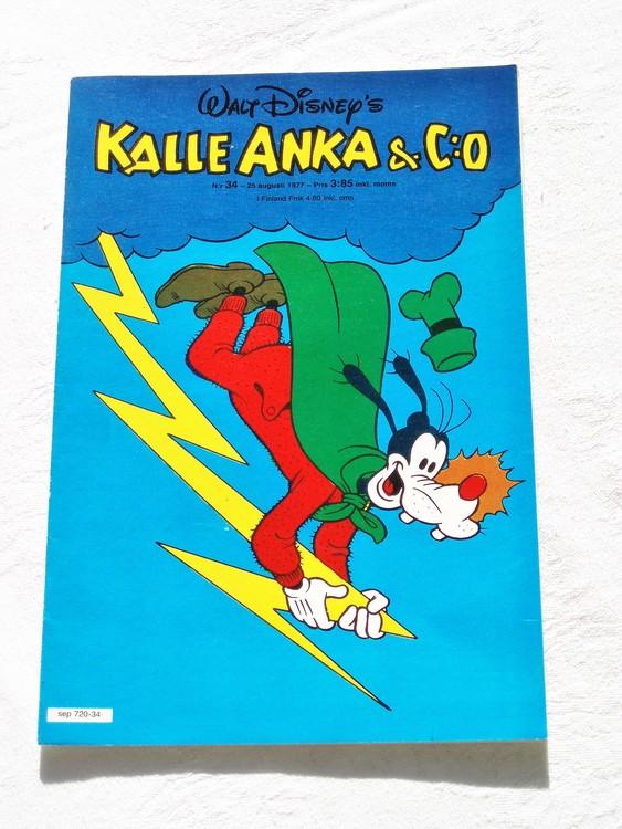 Kalle Anka&Co nr34 1977 mycket bra skick,adressetikett baksida.