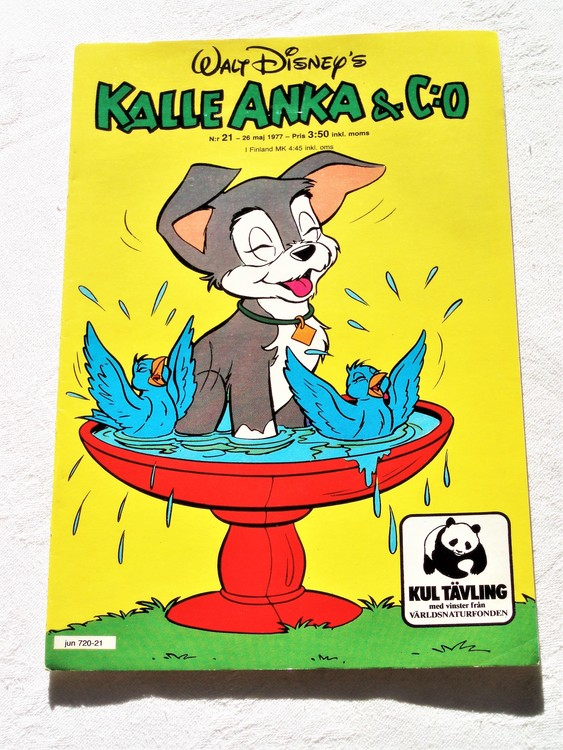 Kalle Anka&Co nr21 1977 mycket bra skick,adressetikett baksida.