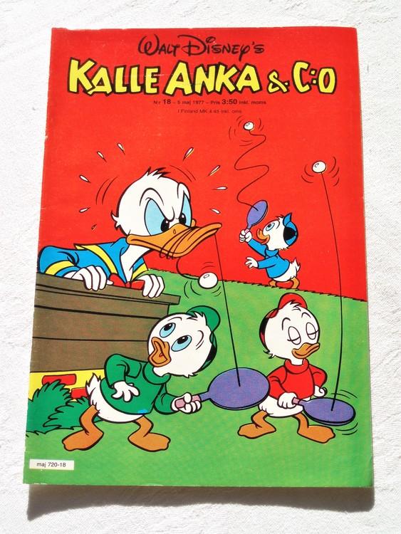 Kalle Anka&Co nr18 1977 mycket bra skick,adressetikett baksida.