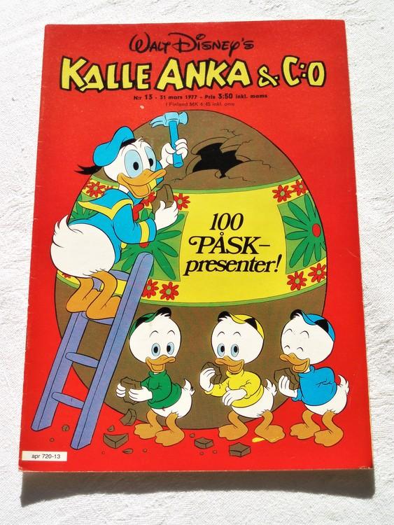 Kalle Anka&Co nr13 1977 mycket bra skick,adressetikett baksida.