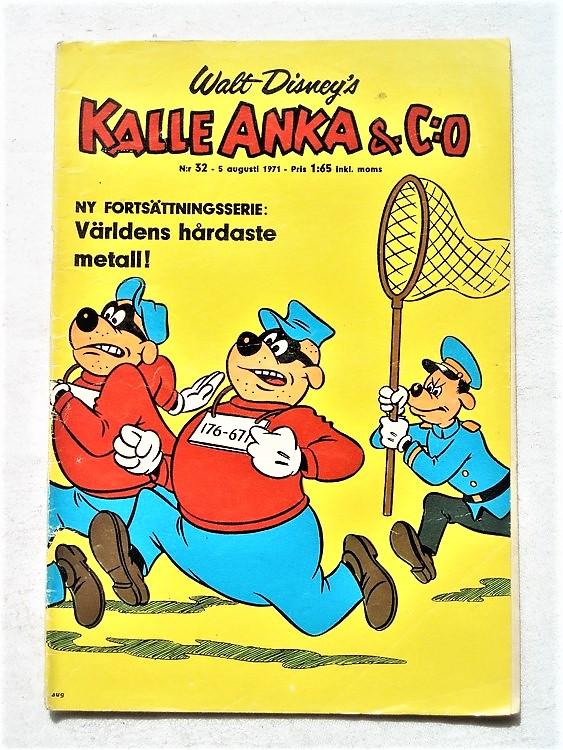 Kalle Anka & Co nr 32 1971 mer slitet än normalt,adressetikett