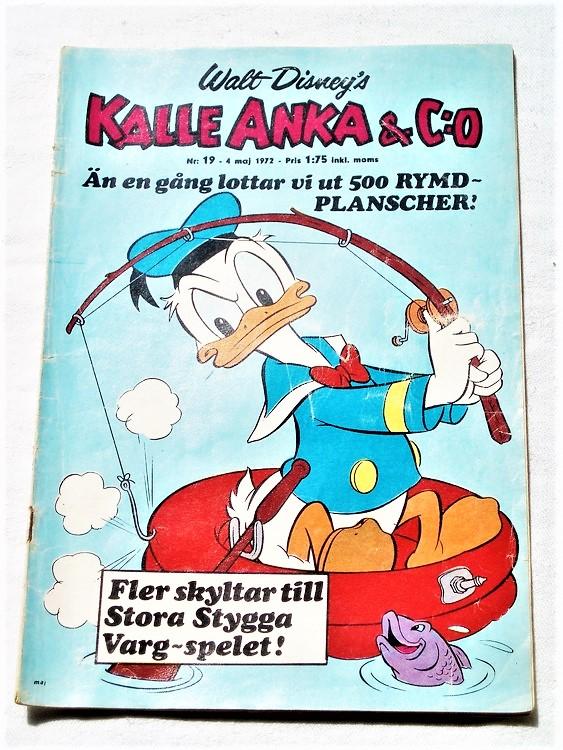 Kalle Anka&Co nr19 1972 bättre skick,adressetikett baksida,rygg lite sliten.