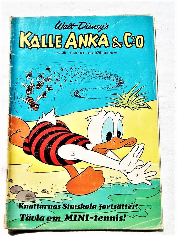 Kalle Anka&Co nr28 1972 bra skick,adressetikett baksida,rygg sliten.