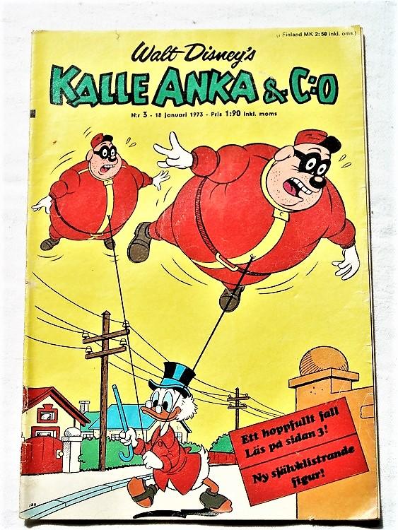 Kalle Anka&Co nr3 1973 bra skick,adressetikett baksida,rygg sliten.