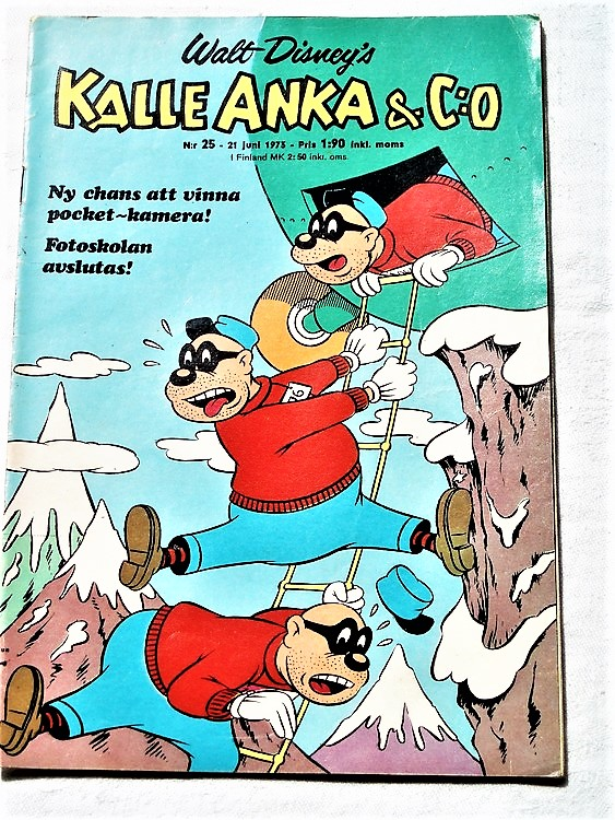 Kalle Anka&Co nr25 1973 bra skick,adressetikett baksida,rygg lite sliten.
