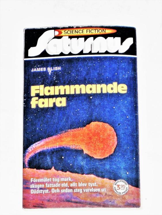 """Science Fiction""""Flammande Fara""""nr 3 Pocket 158sid 1973 bättre skick."""