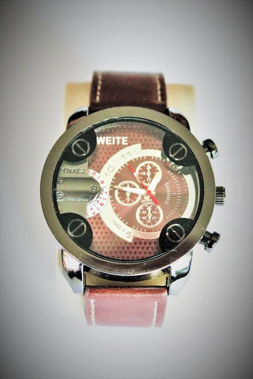 Weite Armbandsklocka Herr Dia 5.5 cm Urtavla Brunt Silver Brunt armband Nyskick