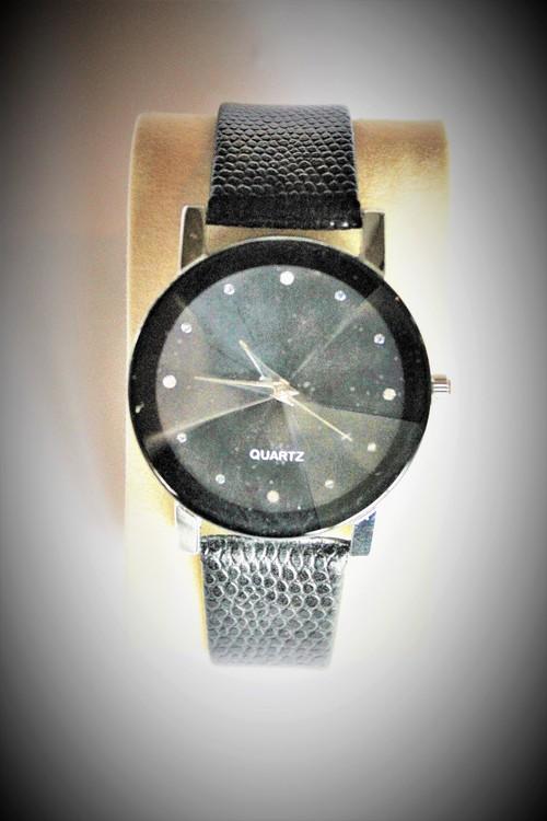 Armbandsklocka Herr Dia 4 cm Urtavla Svart Silver.Svart armband Nyskick