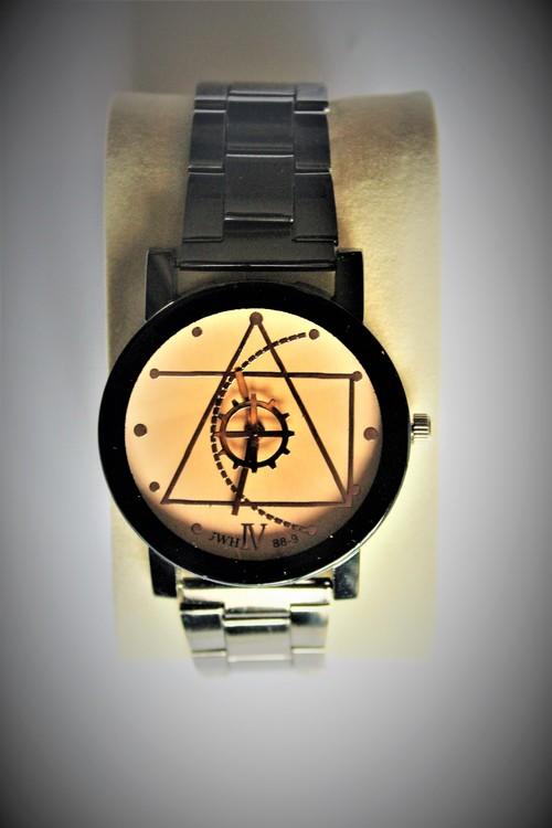 JVH 88-9 Armbandsklocka Herr Dia 4 cm Urtavla Guld Klockslag Sekunder Nyskick