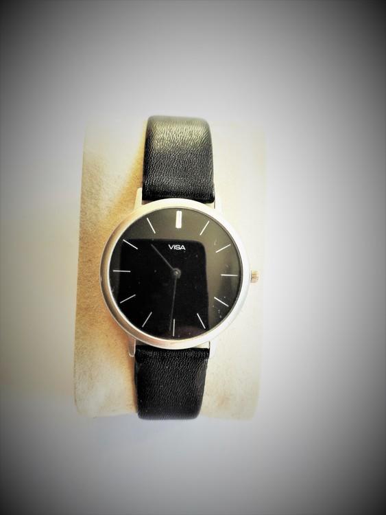 Visa Armbandsur Herr Dia 3.5 cm Urtavla Svart. Svart Läderband Nyskick