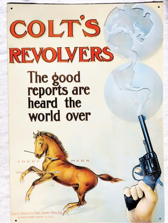 Plåtskylt Colt´s Revolvers 41 x 28.5 cm 1991 mycket bra skick
