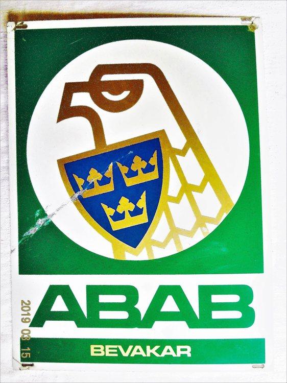 ABAB Allmänna  Bevaknings aktiebolaget Plåtskylt b 20.8 cm h 28.4 cm bra skick.