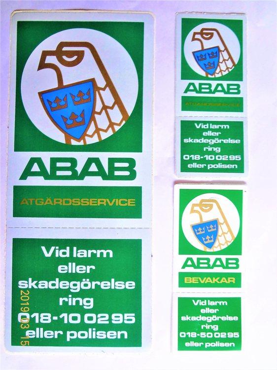 ABAB Klistermärken 3st.oanvända.Stort b8.7cm h20.8cm Små b4.5cm h10cm.