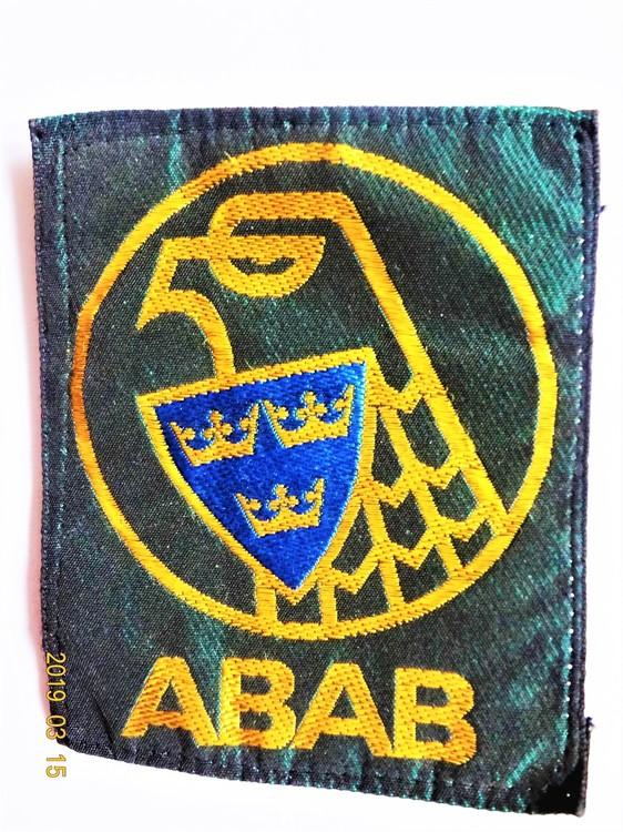 ABAB Tygmärke 6.3x7.7 cm.Allmänna Bevaknings  aktiebolaget var statligt.