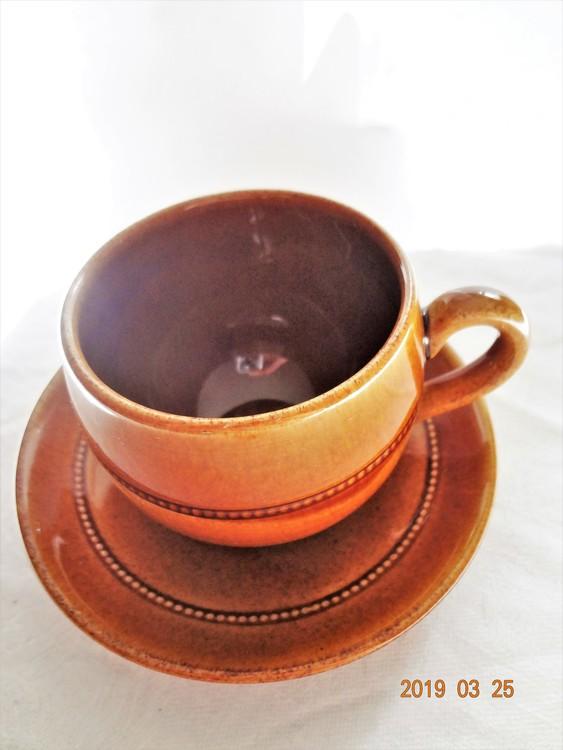 Old Höganäs Kaffekopp med Fat Glaserat Stengods Nr782 1956-67 (Stämpel).