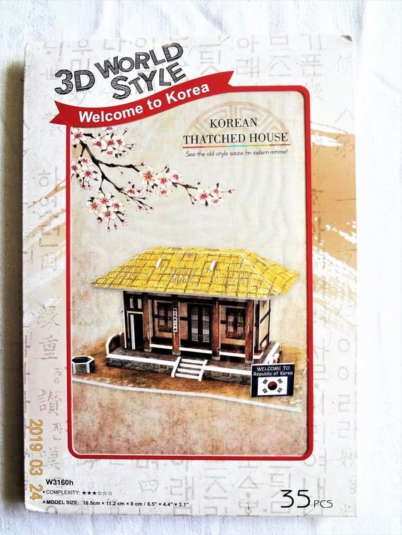"Byggmodell 3D World Style Welcome Korea""Thatched House""35 bitar Nytt"