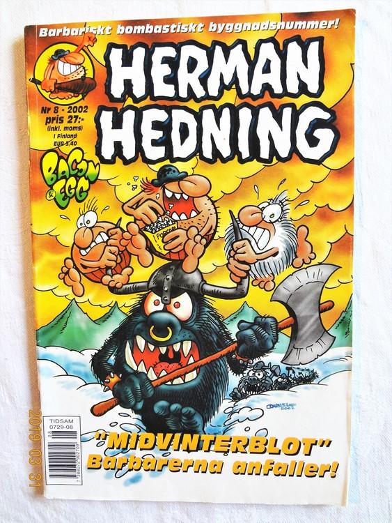 Herman Hedning nr8 2002 Adressetikett baksida bättre skick.