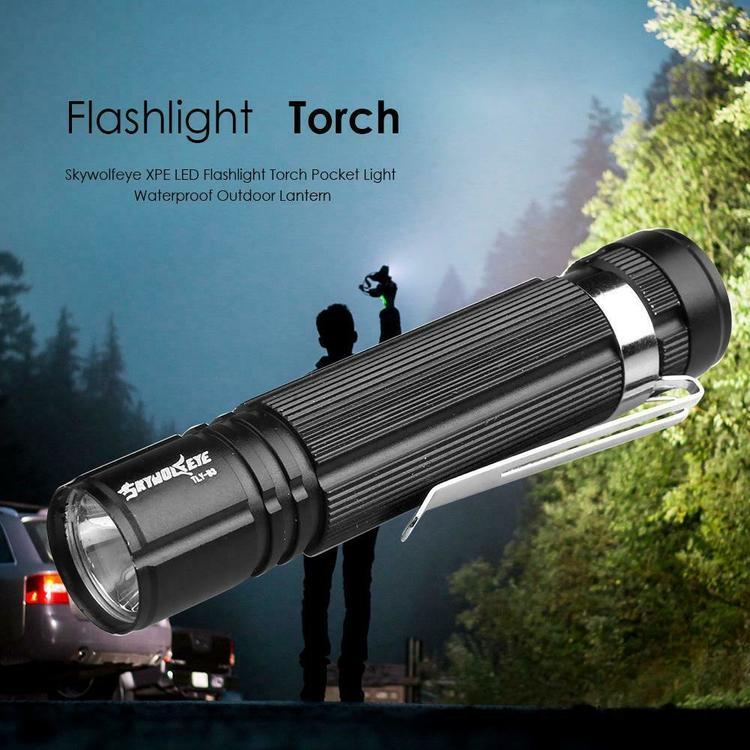 Skywolfeye XPE 300LM LED ficklampa med pennklämma för utomhus camping