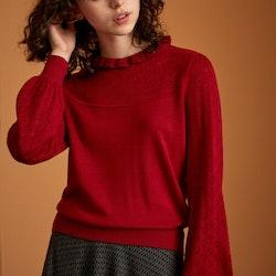 Stickat Izu Sweater Heart Ajour True Red - King Louie