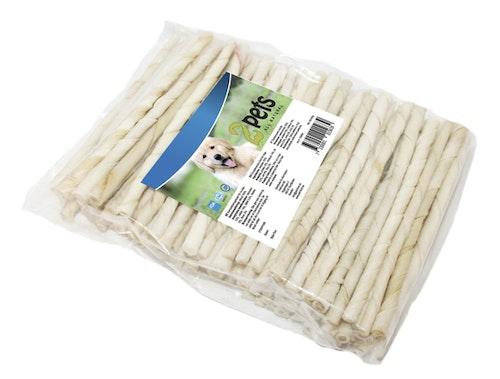 2Pets Tuggpinne vit, vriden 12 cm/ 7-8 mm, 100-pack