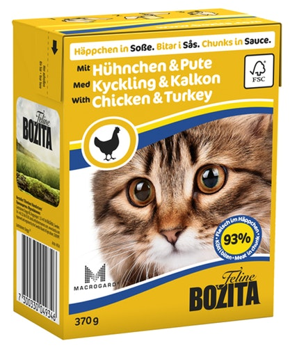 Bozita Katt Tetra Bitar i sås med Kyckling & Kalkon 370 g