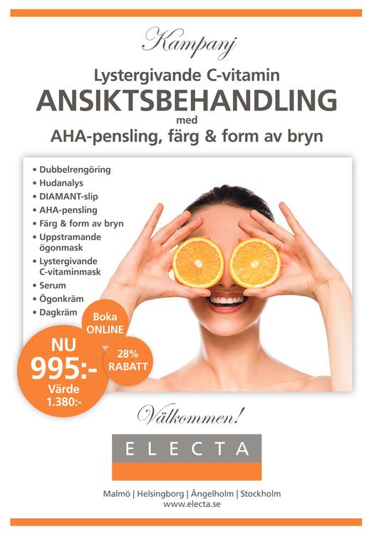 Lystergivande C-vitamin ANSIKTSBEHANDLING med AHA-pensling, färg & form av bryn.