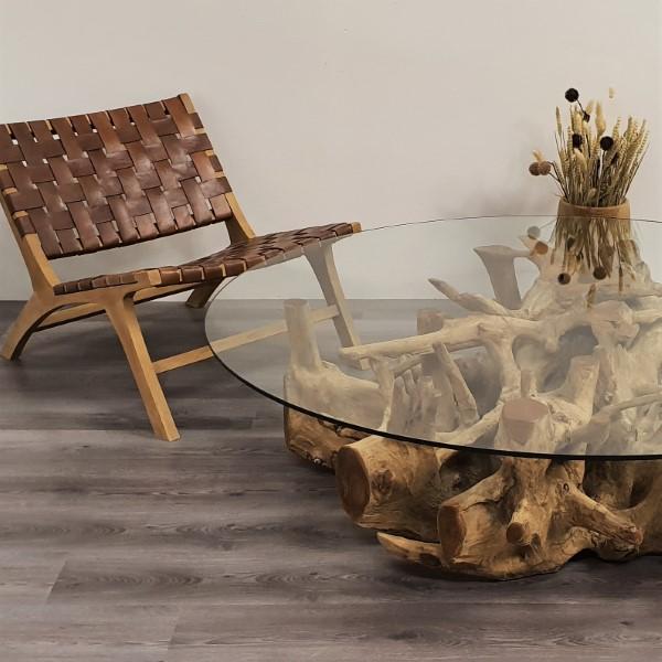 ROOT soffbord teak loungebord glas och trärot