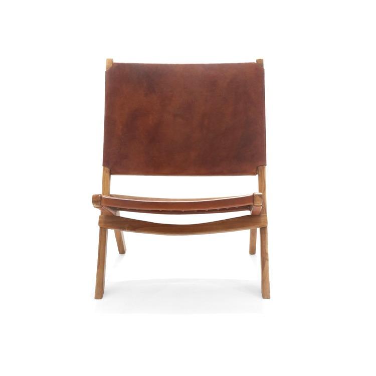 Loungestol av trä med lädersits