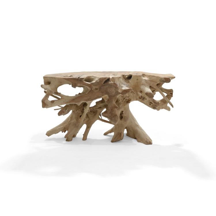 Unikt rustikt matbord av massiv teakrot med glasskiva Homezan