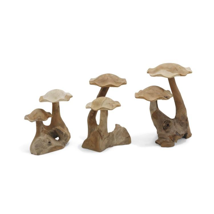 Prydnadsföremål svampar av teak