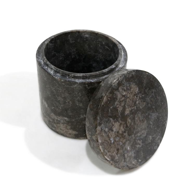Förvaringsburk i svart marmor