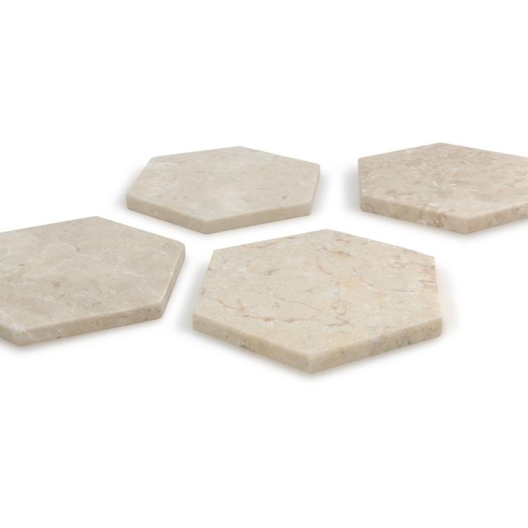 BARI Underlägg i marmor 4 delar Beige
