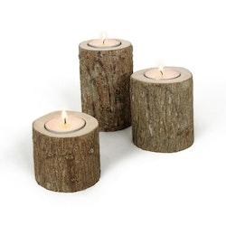 NATURE Värmeljushållare trägrenar 3-pk
