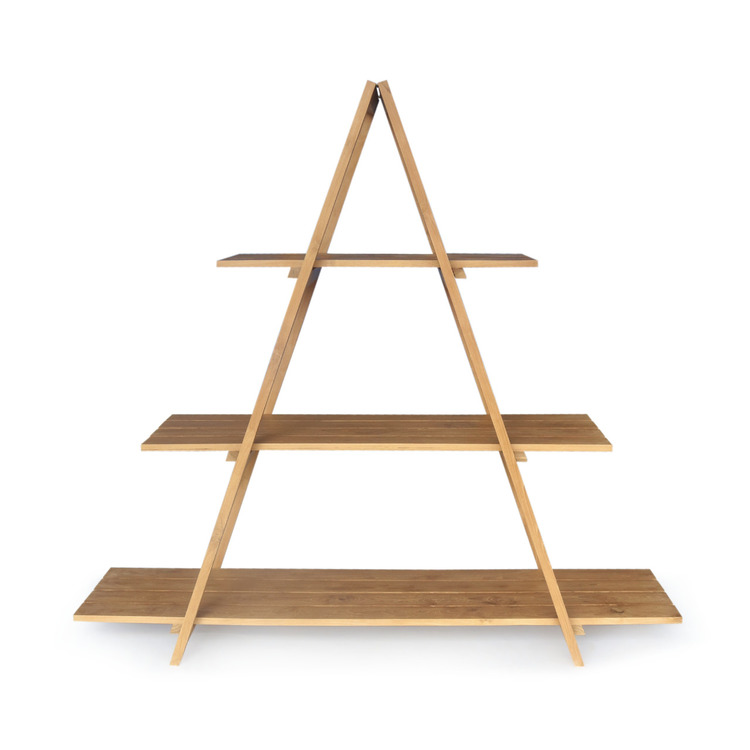 Hylla av teakträ i pyramidform