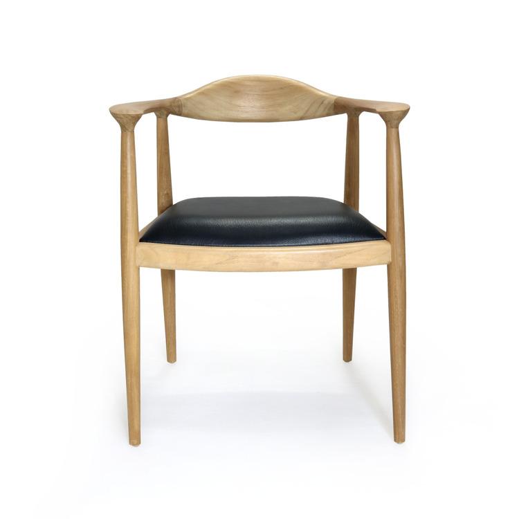 Matstol med rmstöd av teak och lädersits