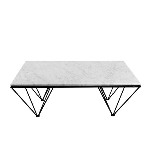 Beige soffbord av marmor och stål