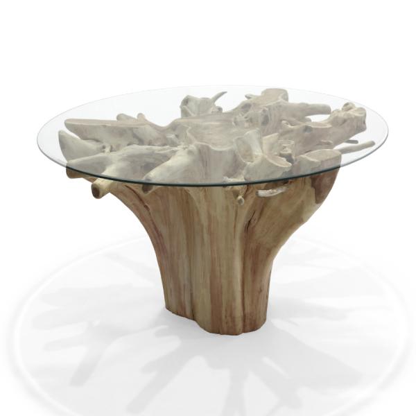 Matbord av teakrot och glas