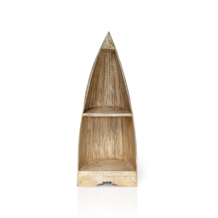 Hörnhylla av mahogny i båtform