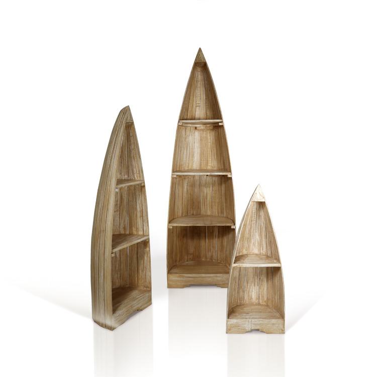 Tre trähyllor formade som båtar