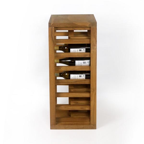 Vinställ av trä med plats för 14 flaskor