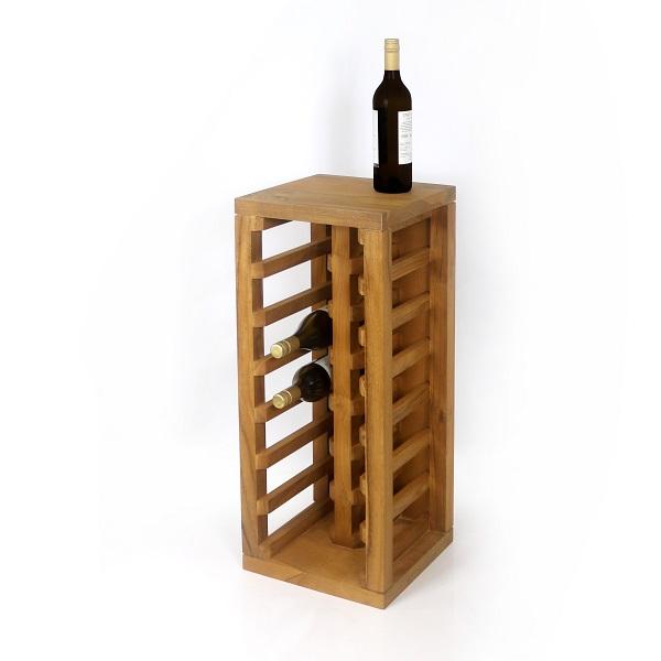 Vinställ av teakträ med vinflaska på
