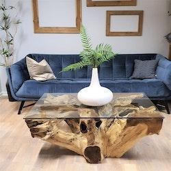 ROOT soffbord av teakrot & glas 110x70