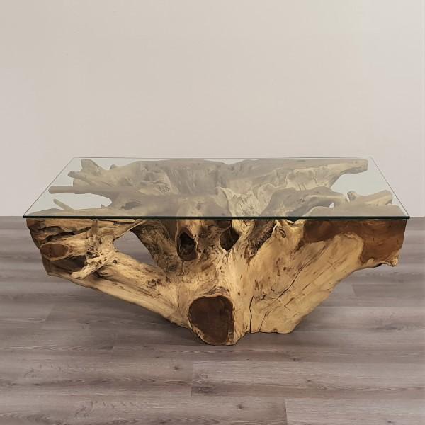 fyrkantigt soffbord av glass och trärot