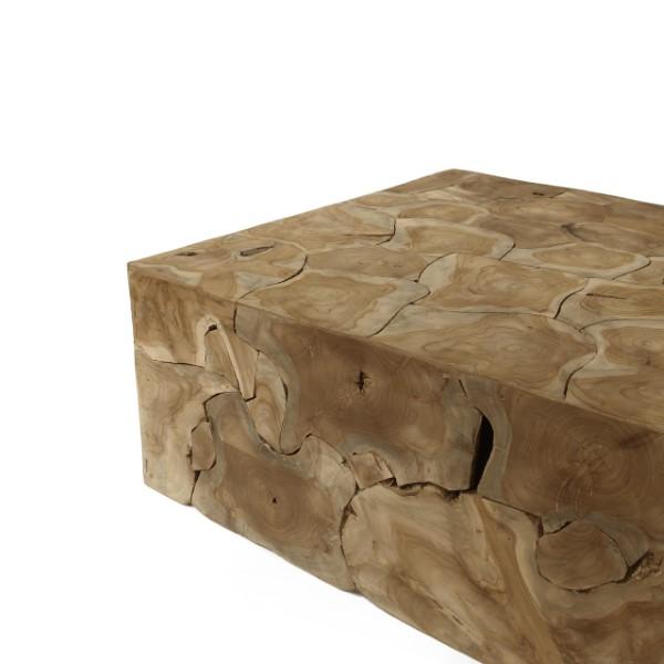 teakbord i fyrkantig form