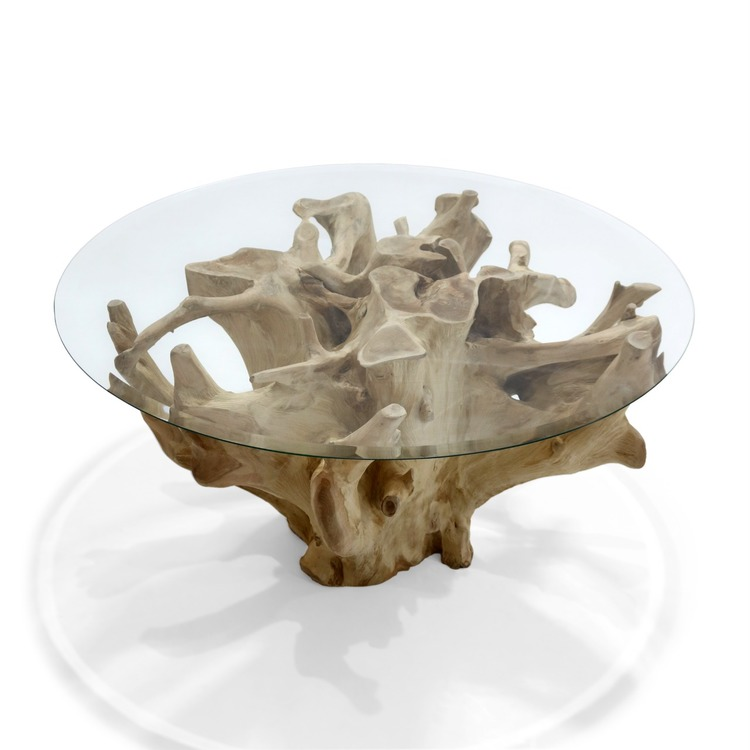 ROOT soffbord teakrot & glas 90 cm