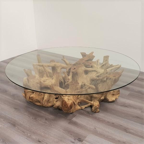 ROOT soffbord teakrot & glas 150 cm